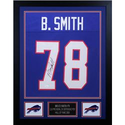 Bruce Smith Signed 24x30 Custom Framed Jersey (JSA COA)