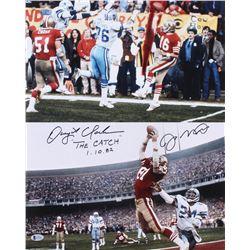 "Dwight Clark  Joe Montana Signed San Francisco 49ers 16x20 Photo Inscribed ""The Catch""  ""1-10-82"" (B"
