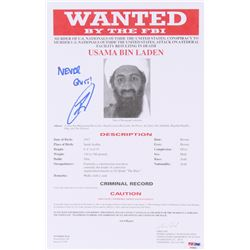 "Robert J. O'Neill Signed Osama Bin Laden FBI Wanted 8.5x13 Document Inscribed ""Never Quit"" (PS"