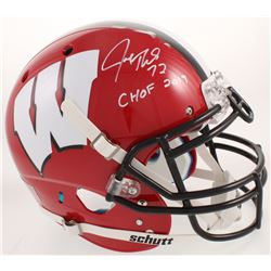 """Joe Thomas Signed Wisconsin Badgers Full-Size Authentic On-field Helmet Inscribed """"CHOF 2019"""" (Schwa"""