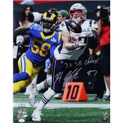 "Rob Gronkowski Signed New England Patriots Super Bowl LIII ""Catch"" 16x20 Photo Inscribed ""3x SB Cham"
