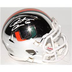 Santana Moss Signed Miami Hurricanes Chrome Speed Mini-Helmet (JSA COA)