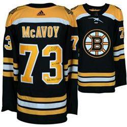 """Charlie McAvoy Signed LE Boston Bruins Adidas Authentic Jersey Inscribed """"14th Pick""""  """"NHL Debut 4-1"""