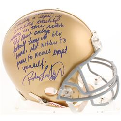 """Rudy Ruettiger Signed Notre Dame Fighting Irish Full-Size Authentic On-Field Helmet with """"Five Foot"""