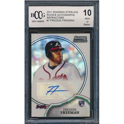 2011 Bowman Sterling Rookie Autographs Refractors #7 Freddie Freeman /199 RC (BCCG 10)
