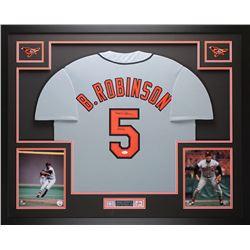 """Brooks Robinson Signed 35"""" x 43"""" Custom Framed Jersey Inscribed """"HOF 83"""" (JSA COA)"""