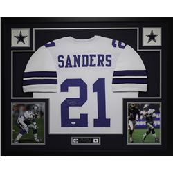 "Deion Sanders Signed 35"" x 43"" Custom Framed Jersey (JSA COA)"