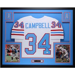 "Earl Campbell Signed 35"" x 43"" Custom Framed Jersey Inscribed ""HOF 91"" (JSA COA)"