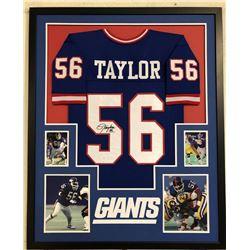 Lawrence Taylor Signed 34x42 Custom Framed Jersey (JSA COA)