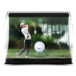 """Rory McIlroy Signed """"Holding the Finish"""" 11x7x5 Limited Edition Range Driven Golf Ball Curve Display"""