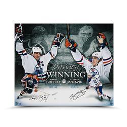 "Wayne Gretzky  Connor McDavid Signed Edmonton Oilers ""Passion For Winning"" 20x24 Photo (UDA COA)"