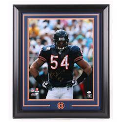 """Brian Urlacher Signed Chicago Bears 23.5x27.5 Custom Framed Photo Inscribed """"HOF 2018"""" (JSA COA)"""