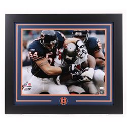 """Brian Urlacher Signed Chicago Bears 23.5x27.5 Custom Framed Photo Inscribed """"Monsters of the Midway"""""""