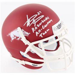 "Steve Atwater Signed Arkansas Razorbacks Mini Helmet Inscribed ""Razorbacks All-Century Team"" (JSA CO"