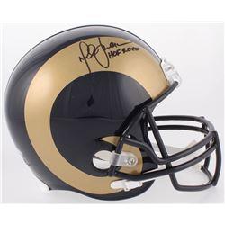 """Marshall Faulk Signed Los Angeles Rams Full-Size Helmet Inscribed """"HOF 20XI"""" (Beckett COA)"""