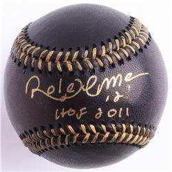 """Roberto Alomar Signed Black Leather OML Baseball Inscribed """"HOF 2011"""" (JSA COA)"""