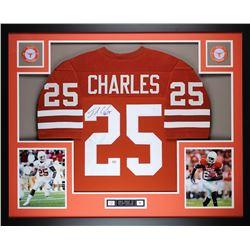 "Jamaal Charles Signed 35"" x 43"" Custom Framed Jersey (GTSM COA)"