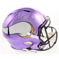 """Randy Moss Signed Minnesota Vikings Full-Size Chrome Speed Helmet Inscribed """"HOF 18"""" (JSA COA)"""