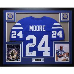 "Lenny Moore Signed 35x43 Custom Framed Jersey Display Inscribed ""HOF 75"" (JSA COA)"