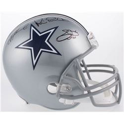 Emmitt Smith, Troy Aikman  Michael Irvin Signed Cowboys Full-Size Helmet (Becket COA)