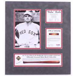 Babe Ruth Boston Red Sox 18x20 Custom Matted Game-Used Authentic Bat Piece Display