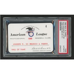 Joe DiMaggio 1990 Official American League Parks Working Pass (PSA Authentic)