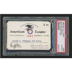 John DiMaggio 1985 Official American League Parks Working Pass (PSA Authentic)