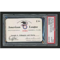Joe DiMaggio 1986 Official American League Parks Working Pass (PSA Authentic)
