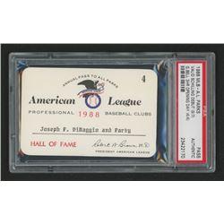 Joe DiMaggio 1988 Official American League Parks Working Pass (PSA Authentic)