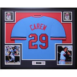"Rod Carew Signed 35x43 Custom Framed Jersey Inscribed ""HOF 91"" (JSA COA)"