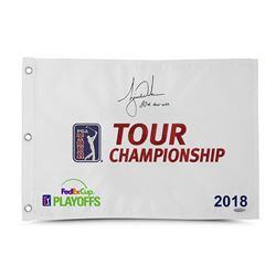 """Tiger Woods Signed Limited Edition 2018 Tour Championship Pin Flag Inscribed """"80th Tour Win"""" (UDA CO"""