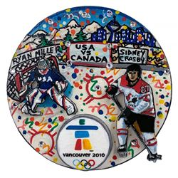 Charles Fazzino Painted  3D Pop Art 2010 Winter Olympics Team USA vs. Team Canada Hockey Puck