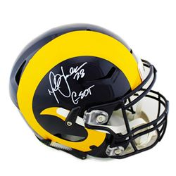 """Marshall Faulk Signed St. Louis Rams Full-Size Authentic On-Field SpeedFlex Helmet Inscribed """"GSOT"""""""