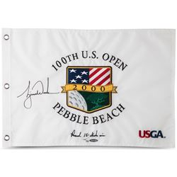 """Tiger Woods Signed 2000 US Open """"Record 15-Stoke Win"""" Limited Edition Pin Flag (UDA COA)"""