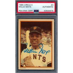 Willie Mays Signed 1985 Circle K #3 (PSA Encapsulated)