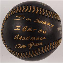 "Pete Rose Signed OML Black Leather Baseball Inscribed ""I'm Sorry I Bet On Baseball"" (JSA COA)"