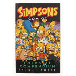 "Matt Groening Signed Simpsons Comics ""Colossal Compendium Volume Three"" Soft Cover Book Inscribed """