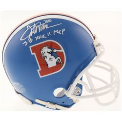 "Terrell Davis Signed Denver Broncos Throwback Mini-Helmet Inscribed ""SB XXXII MVP"" (Radtke COA)"