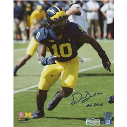 "Devin Bush Signed Michigan Wolverines 8x10 Photo Inscribed ""Go Blue"" (Radtke COA)"