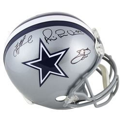 "Emmitt Smith, Troy Aikman  Michael ""Playmaker"" Irvin Signed Dallas Cowboys Full-Size Helmet (Beckett"