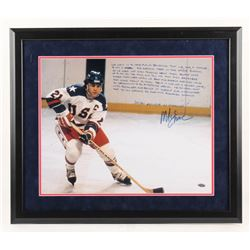 Mike Eruzione Signed Team USA 22x26 Custom Framed Photo with Extensive Inscription (Steiner COA)
