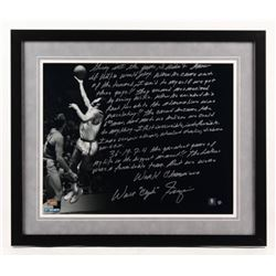 Walt Frazier Signed New York Knicks  22x26 Custom Framed Photo with Extensive Inscription (Steiner C