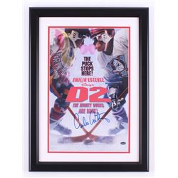 "Emilio Estevez Signed ""D2: The Mighty Ducks"" 16.5x22.5 Custom Framed Movie Poster (Schwartz Sports C"