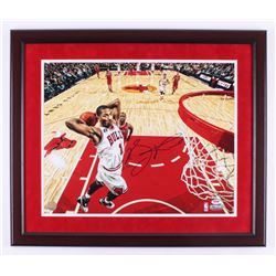Derrick Rose Signed Chicago Bulls 22x26 Custom Framed Photo (PSA COA)