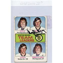 Bobby Orr Signed 1975-76 Topps #314 Bruins Leaders (JSA Hologram)