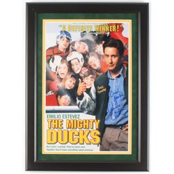 "Emilio Estevez Signed ""The Mighty Ducks"" 16x22 Custom Framed Poster Inscribed ""Coach Bombay"" (Schwar"