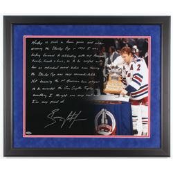 Brian Leetch Signed New York Rangers 22x26 Custom Framed Photo with Extensive Inscription (Steiner C