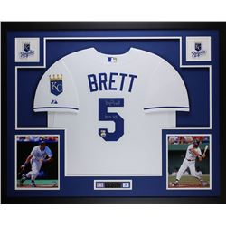 "George Brett Signed Kansas City Royals 35x43 Custom Framed Jersey Inscribed ""HOF 99"" (Fanatics  MLB"