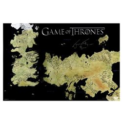 """Jerome Flynn Signed """"Game of Thrones"""" 24x36 Westeros Map Inscribed """"Bronn"""" (Radtke COA)"""