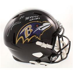 "Jamal Lewis Signed Baltimore Ravens Full-Size Speed Helmet Inscribed ""SB XXXV Champs"" (Beckett COA)"
